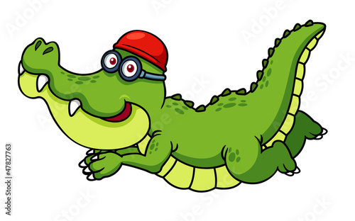 illustration of Cartoon crocodile swimming