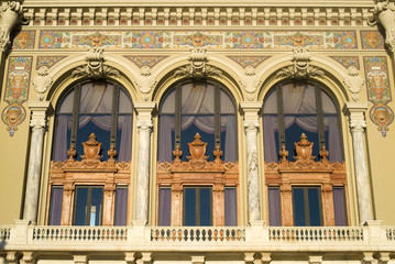 Rococo decorations on the facade of Monte Carlo Opera
