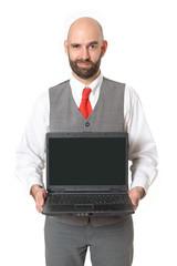 Geschäftsmann präsentiert Laptop
