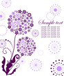Abstract violet card with dandelion