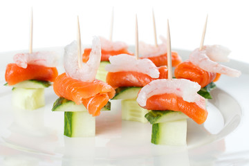 Party nibbles made from shrimp and salmon
