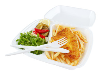 Fish and chips portion from fast food restaurant