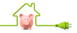 Green power plug - house with piggy bank - 47831923