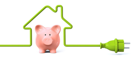 Green power plug - house with piggy bank