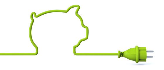 Green power plug - piggy bank