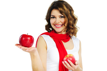 Beautiful woman holding red apple isolated on white