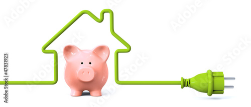 Leinwandbild Motiv Green power plug - house with piggy bank