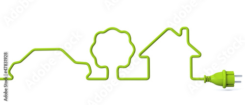 Green power plug - car-tree-house - 47831928