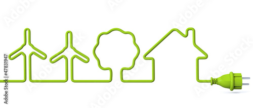 Leinwanddruck Bild Green power plug - wind energy-tree-house