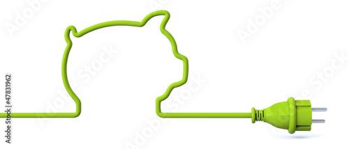 Leinwanddruck Bild Green power plug - piggy bank