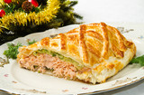 Fototapeta Traditional salmon in puff pastry