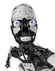 cyborg skull face portrait