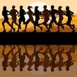 Man and women marathon runners
