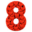 Number Eight, made from soft cushions in the shape of Hearts. Hi