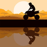 All terrain vehicle quad motorbike rider in wild nature