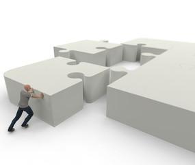 Hombre empujando pieza puzzle