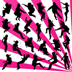 Young children illustration collection silhouettes jumping in th