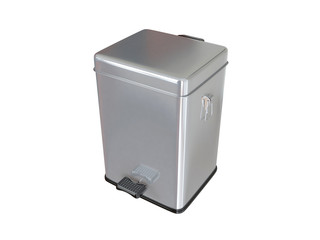 Closed trash can. 3D isolated