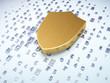 Security concept: golden shield on digital background