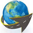3d Globe and roads around it.