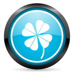 four-leaf clover blue glossy icon on white background