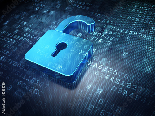 Security concept: blue opened padlock on digital background