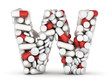 Letter W, alphabet from pills