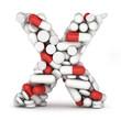 Letter X, alphabet from pills