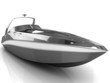 3D black speedboat isolated