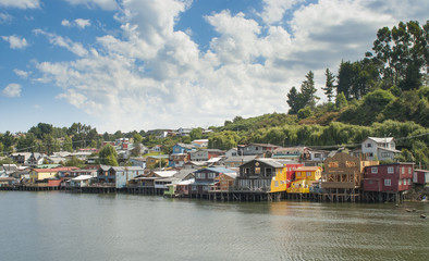 Stilts over the sea in the  Castro city, Chiloe Chile
