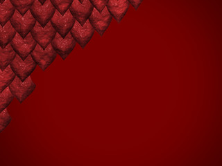 Red background with reptile skin