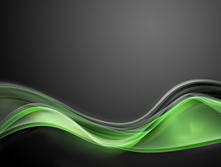 Elegant green fractal waves on grey background