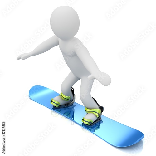 3D puppet person flying on a snowboard.
