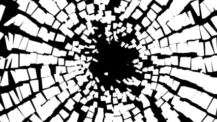 Abstract pieces of broken white glass over black