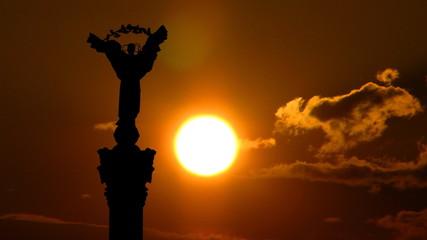 Ukraine Independence monument Kiev sunset