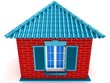 3D small house with red roof.