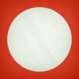 Red and white stitched circle shape on mock croc poster