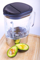 Fresh tropical avocado fruit with a blender