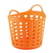 Orange color plastic basket for supermarket shopping or laundry
