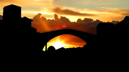 Bosnia and Herzegovina Mostar bridge sunrise