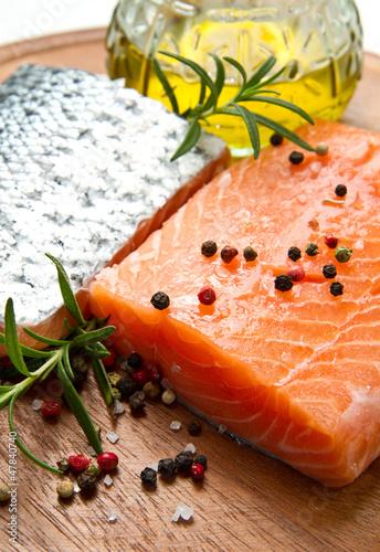 Fresh salmon fillet on wooden board