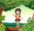 A girl standing on wood in nature