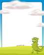 A chameleon standing on a field