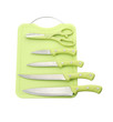 Knife set and scissors with plastic cutting board
