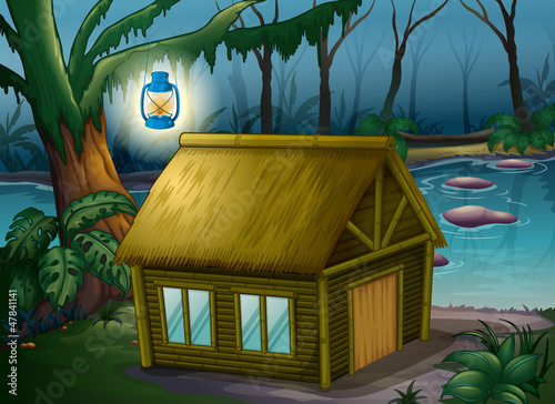 Deurstickers Fantasie Landschap A bamboo house in the jungle