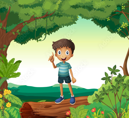 A boy standing on wood in nature