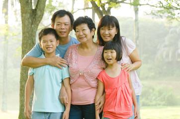 asian family outdoor enjoyment