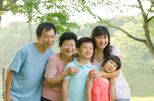 asian family outdoor enjoyment