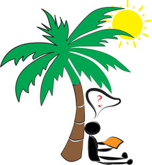 man resting under a palm