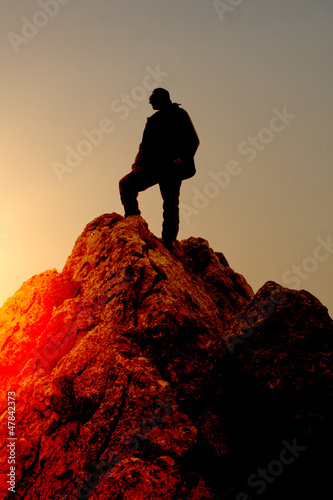 Man climbing with no rope